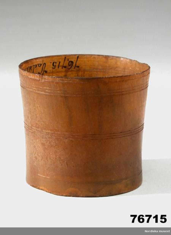 Materialet är horn enligt konservator Thea Winther 2010.
