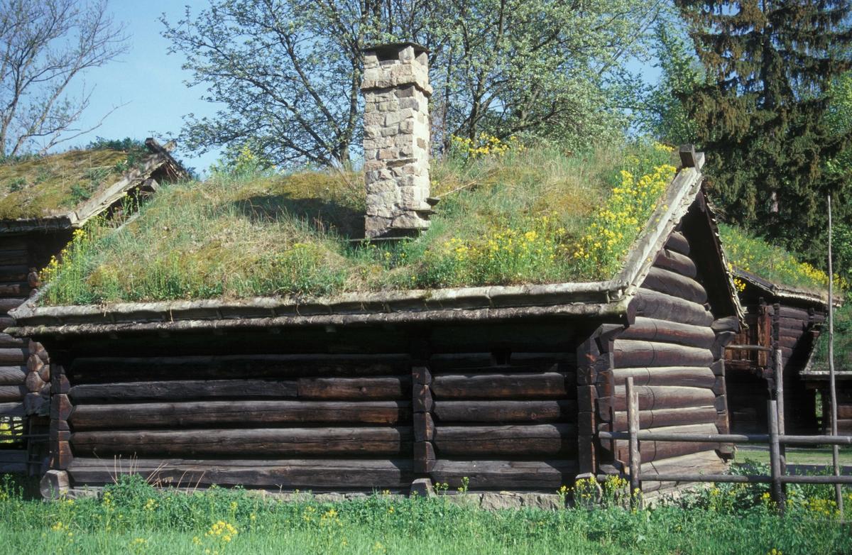 STUE FRA NEDRE-JORDET I HOL, CA. 1750  Overført til museet 1924, gjenoppført 1926   I stua er det foruten framskap og hjørneskap et «pellarskåp», som skapet mellom forstuedøra og kovedøra ble kalt i Hallingdal. Dette er det samme som «bostkastet» (omtalt under bygning 131). Denne stua skiller seg ut blant stuene fra Hallingdal fordi interiøret er umalt og har renessansepreg. Stua fra Nedre-Jordet er trolig bygd av bonden Ola Hermannson.  (Tekst hentet fra By og bygd 43, 2010)