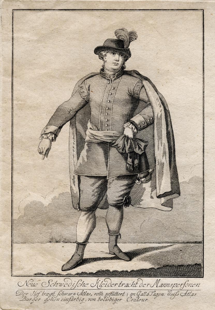 """Gustaf III:s nationella dräkt. """"Neue Schwedische Kleidertracht der Mannspersonen."""" Herre i svenska dräkten. Gravyr av okänd kostnär, trol. ca 1780."""