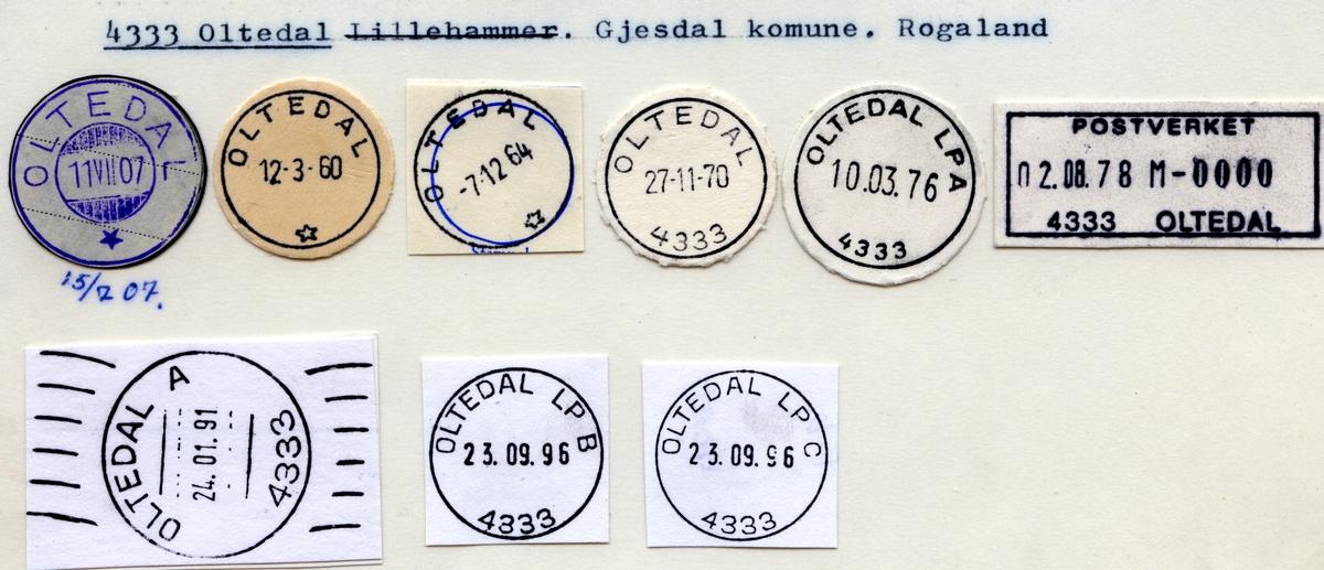 Stempelkatalog  4333 Oltedal, Gjesdal kommune, Rogaland