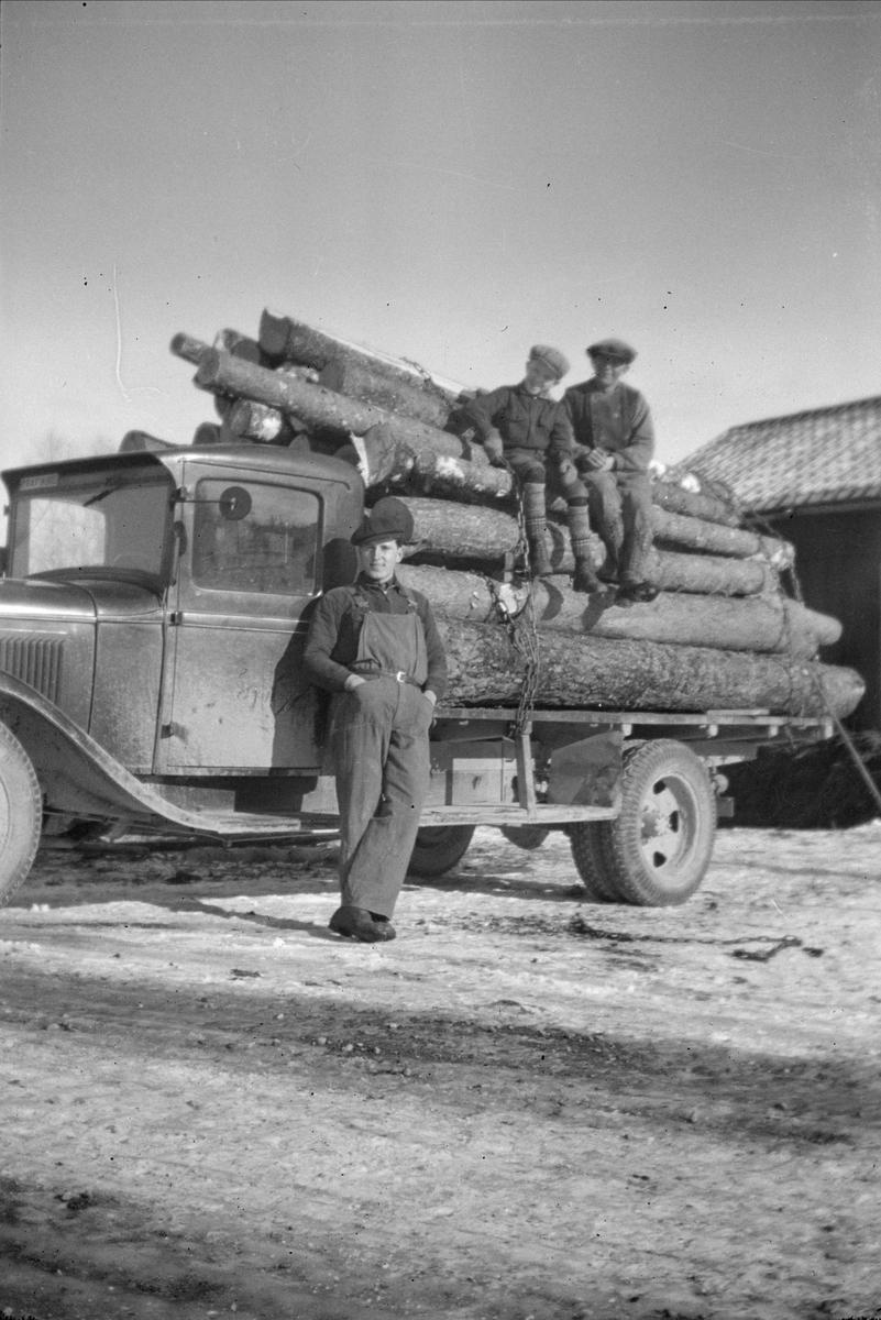 Timmertransport - Göte Blom, Ytterkvarn, Österunda socken, Uppland 1940 - 50-tal