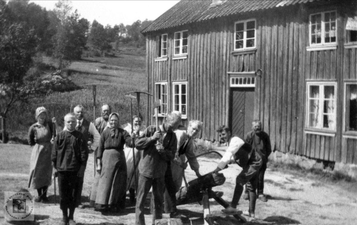 Folk på gardstun på Sangesland, Laudal.