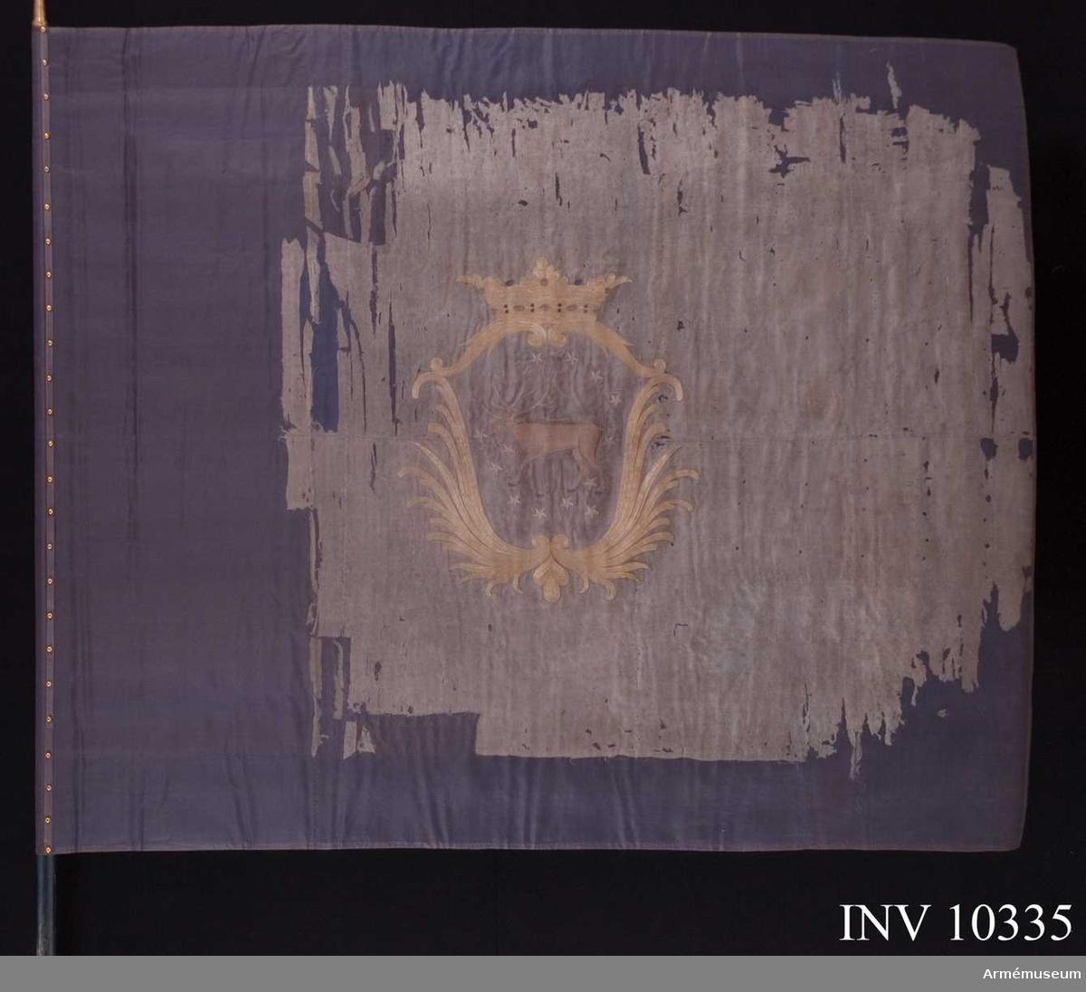 Grupp B I.  Kompanifana utlämnad år 1813 till Västerbottens regemente. Duk av blå sidenkypert med, lika på båda sidor, i silke broderat Västerbottens vapen: en ren, brun i blått fält med strödda gula stjärnor. Däromkring stiliserade palmkvistar, bildande en sköld, krönt av en öppen krona i gult silke med rött foder samt stenar i silver och rött och blått silke; kantad med blått sidenband, fäst med liknande band och förgyllda spikar. Duken i två våder.  Stång av furu, slät, blåmålad, snett avsågad, diameter nedtill 36 mm, till dukens undersida 1,40 m. Holk av förgylld mässing. Spets av förgylld mässing, blad med Carl XIV Johans krönta namnchiffer, infattat av två lyrformigt mot varandra böjda palmkvistar upptill förenade i en strålande sol. Längd 16 cm, bredd 7,4 cm. Spetsen förvaras i rullen.