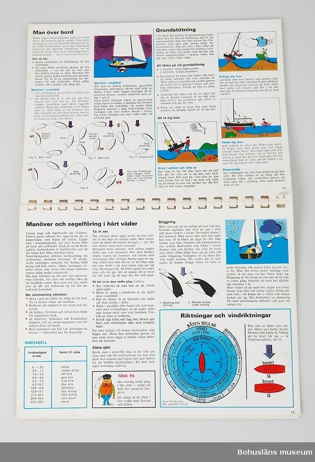 Handbok i sjövett med plastade kraftiga sidor bundna i en spiralrygg av plast. 18 sidor. Titel: SALTA BOKEN tips till hands för segel- och motorbåtsskeppare. sammanställda av Bo Streiffert teckningar av P. O. Tjärnberg Fjärde upplagan med de nya sjövägsreglerna. tål vatten . sjösäker . lätt att hitta i Wezäta förlag