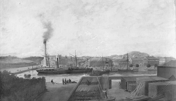 Målning av Kampenhofområdet, Uddevalla, 1858