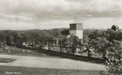 """Tryckt text på kortet: """"Klövedals kyrka"""".     ::"""