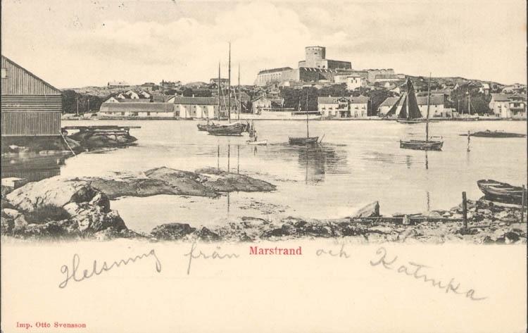 "Tryckt text på kortet: ""Marstrand."" ""Otto Svensson."""