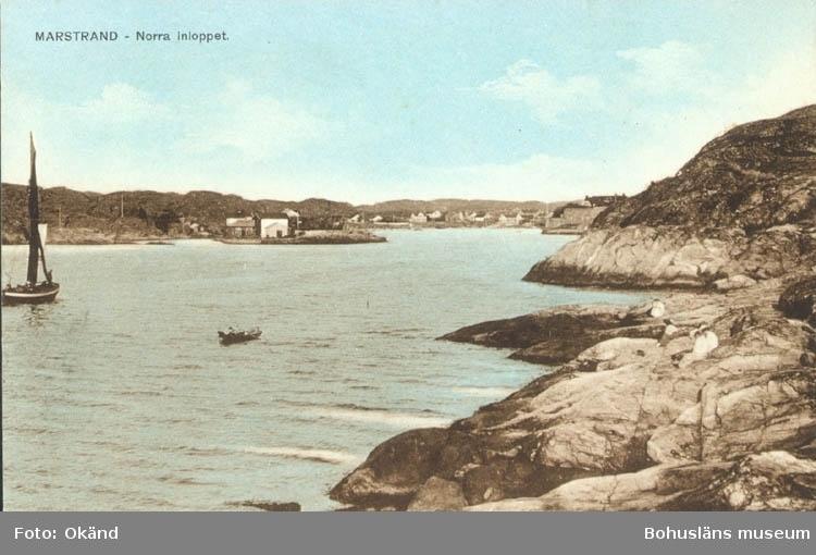 """Tryckt text på kortet: """"Norra Inloppet, Marstrand."""" """"J.O. Orsell, Marstrand."""""""