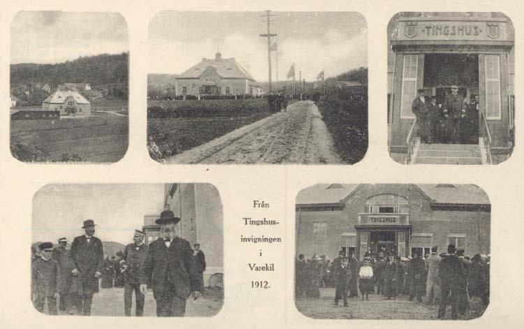 """Tryckt text på kortet: """"Från Tingshusinvigningen i Varekil 1912."""""""