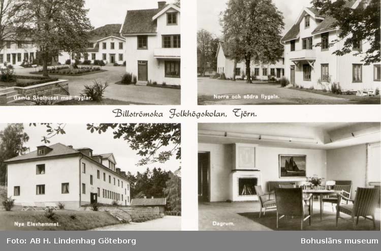 """Tryckt text på kortet: """"Billströmska Folkhögskolan, Tjörn."""" """"Gamla Skolhuset med flyglar."""" """"Norra och södra flygeln."""" """"Nya Elevhemmet."""" """"Dagrum."""""""