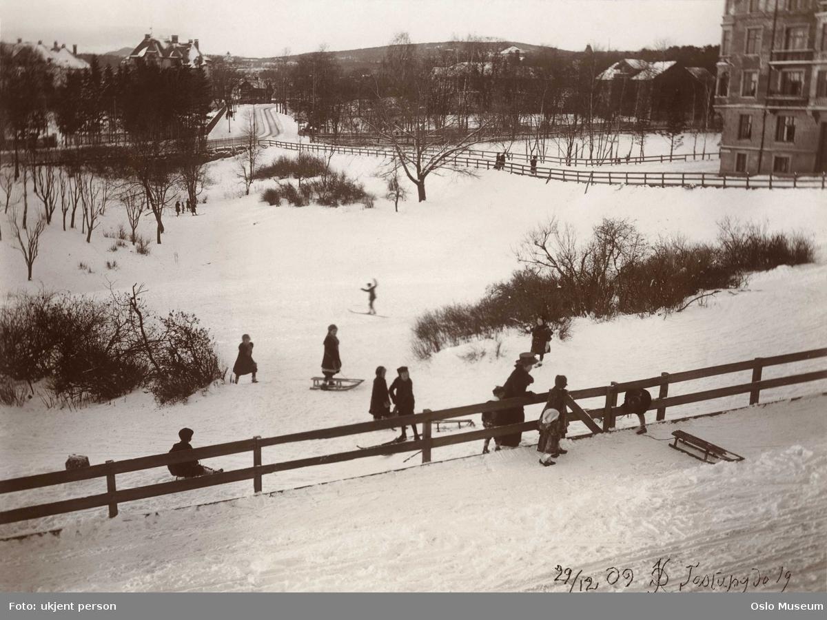 utsikt, kulturlandskap, snø, barn, lek, kjelker, ski, bygård, villabebyggelse, veier, gjerder