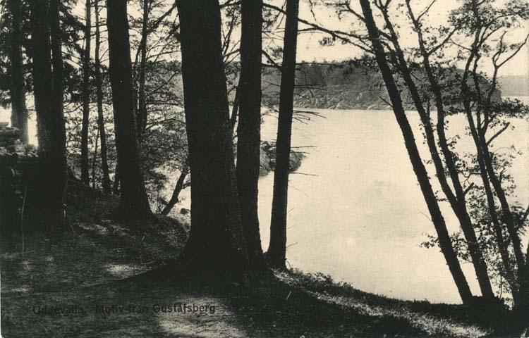 """Tryckt text på vykortets framsida: """"Uddevalla, Motiv från Gustafsberg."""""""