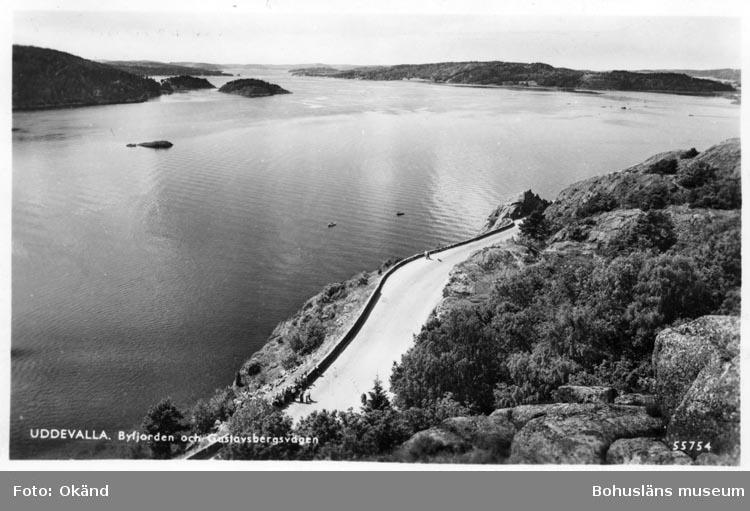 """Tryckt text på vykortets framsida: """"Uddevalla. Byfjorden och Gustafsbergsvägen."""""""
