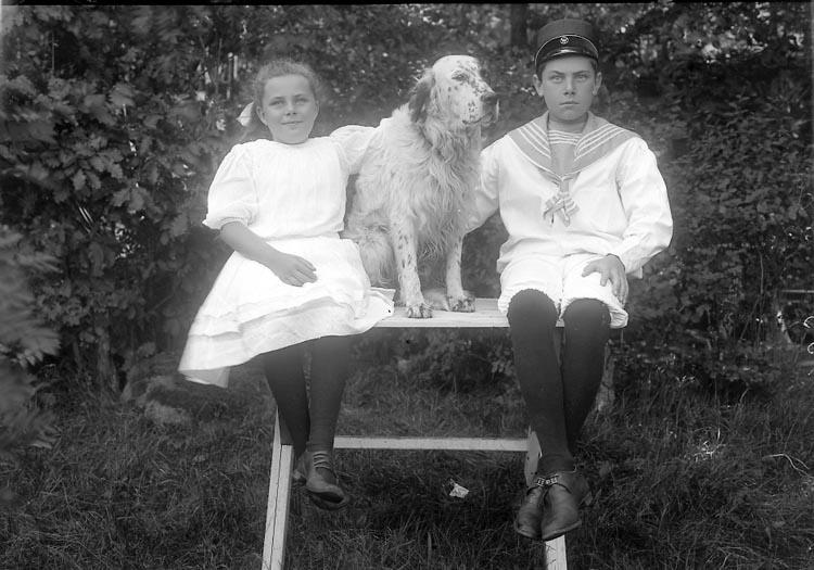 "Enligt fotografens journal Lyckorna 1909-1918: ""Lindstedt, Villa Alphyddan Lyckorna""."