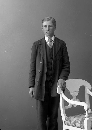 """Enligt fotografens journal nr 3 1916-1917: """"Karlsson, John, Öfra Röra, Spekeröd""""."""
