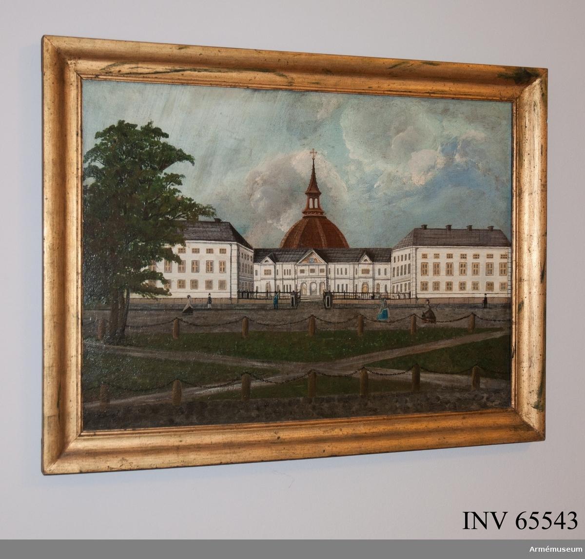 Grupp MI. Oljemålning signerad Mortenson, föreställande Artillerigården 1868-1882, före tyghusets tillbyggnad med en tredje våning och innan hovstallets tillkomst.
