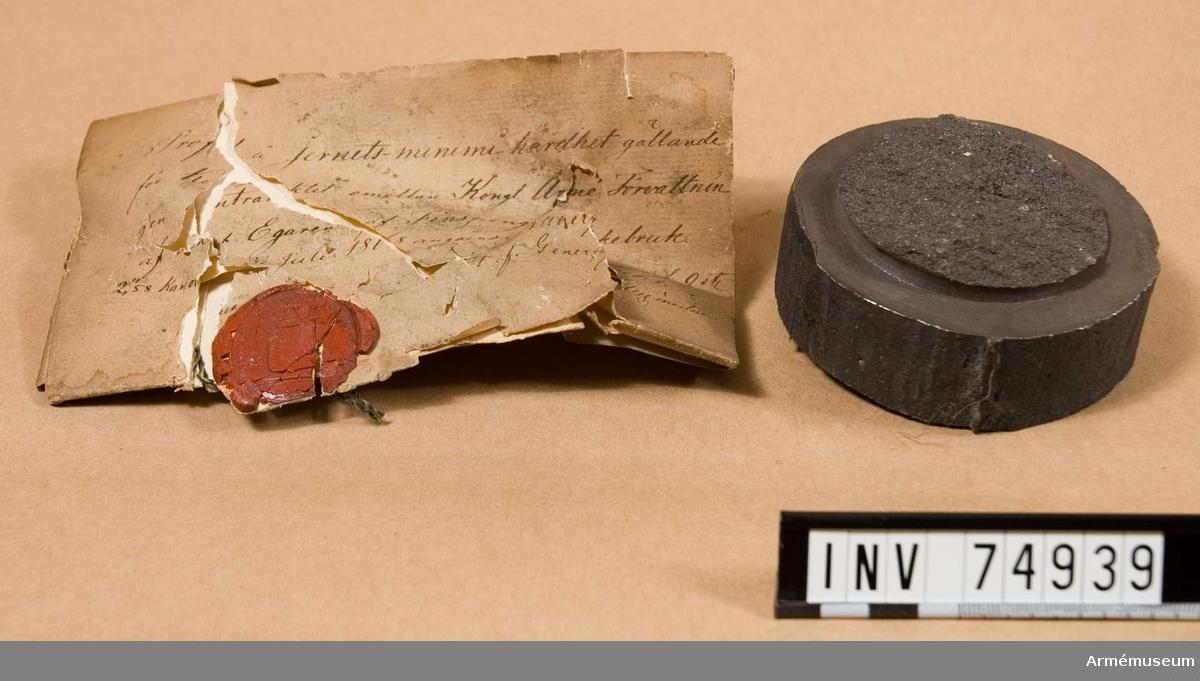 Grupp  F:V. Utvisande järnets minimihårdhet, gällande för den under n:o. 1865 omnämnda leveransen från Finspongs bruk av 9 st. 8/cm. framladdningskanoner m/1864.