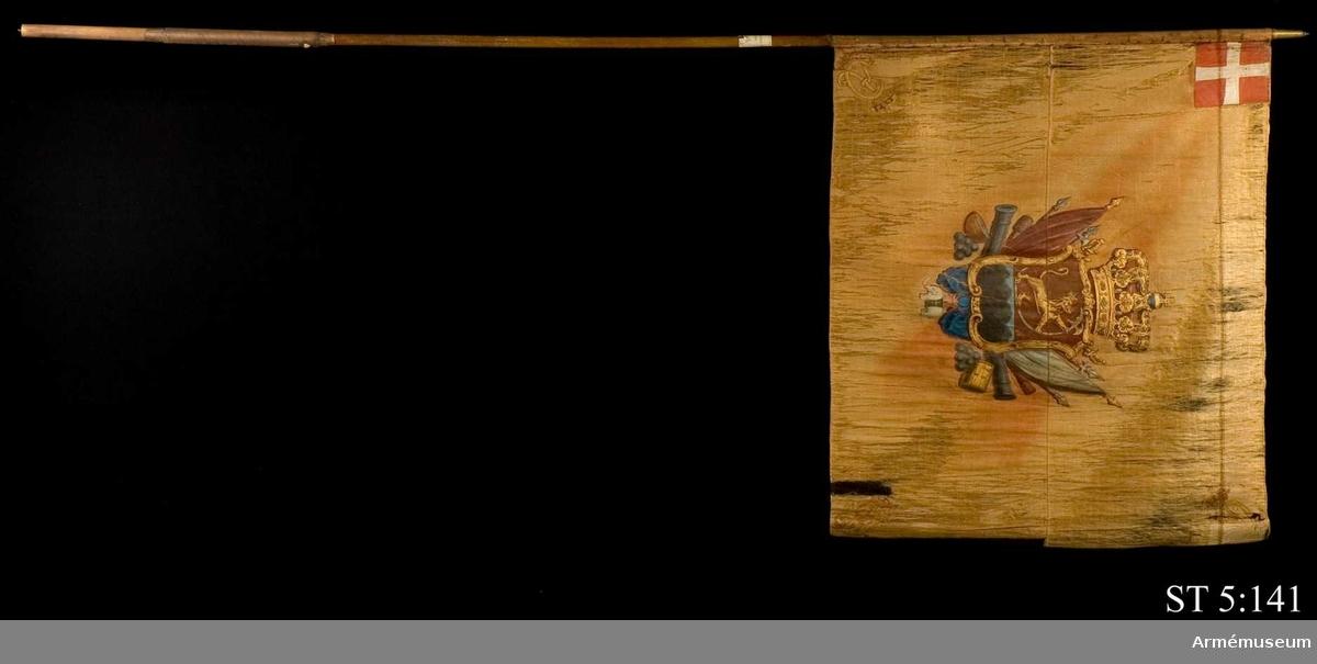 Duk av röd sidenrips, nu blekt, bestående av två våder à 56 cm. Fållad runt kanterna. Målat motiv bestående av en tvådelad vapensköld. I den övre delen ses det norska lejonet och i den undre det Bergenhusiska infanteriregementets vapen, sju berg. Skölden är krönt av en sluten krona och omges av trofégrupper. Under skölden hänger elefantordens tecken i ett blått band. I dukens övre hörn på stångsidan är en applikation med den danska flaggan, dannebrogen. I de övriga tre hörnen är det krönta monogrammet CR målat i guld. Motivet är omvänt lika på andra sidan. Duken är virad runt stången och fäst med en rad förgyllda tännlikor. De är spikade med 3 cm mellanrum genom ett 1,5 cm brett, ursprungligen rött, bomullsband. Stången är rund och omålad, nertill försedd med doppsko.  Fanan saknar spetsblad och endast holken återstår.