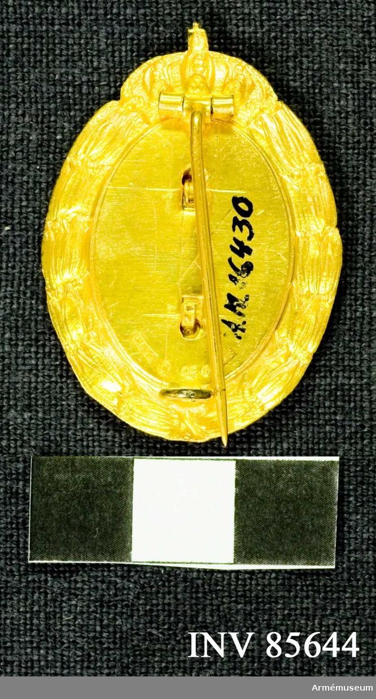 Grupp M.  Åtsidan: En cirkelrund glob, innehållande landstormsmärket (ett gult kort på blå botten, nationalfärgerna) utanpå globen en sol, bestående av olika långa, förgyllda strålar, tillsammans bildande en oval: ytterst en tät lagerkrans med ombindning nedtill och vars båda ändar upptill möta en kunglig krona. Frånsidan: Lagerkransen och kronan synas inpressade. På det ovala mittpartiet synes ett inpressat K C.S., silverkontroll och H8. Märket är försett med säkerhetsnål. Beskrivning: Prn Tilldelas den, som förvärvat idrottsmärke och under följande fem år förvärvat årtalsmärken och under följande fem år förvärvat årtalsdiplom.