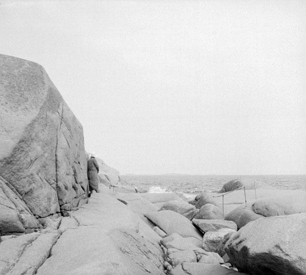 (Stereo karta XV) Strandbild nära Stångehuvuds fyr.19 Juni 1926.