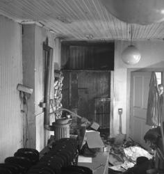 """Text till bilden: """"Eldsvåda på S. Kvarngatan 1. 1947.04.10""""."""