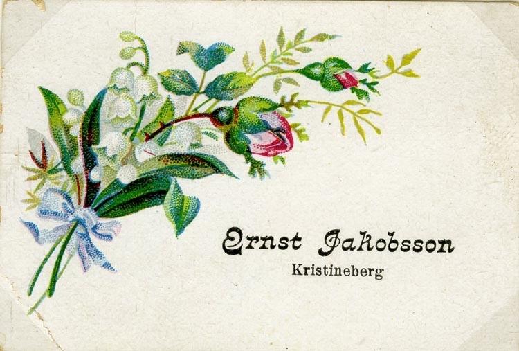 Text på kortet: Ernst Jakobsson Kristineberg.