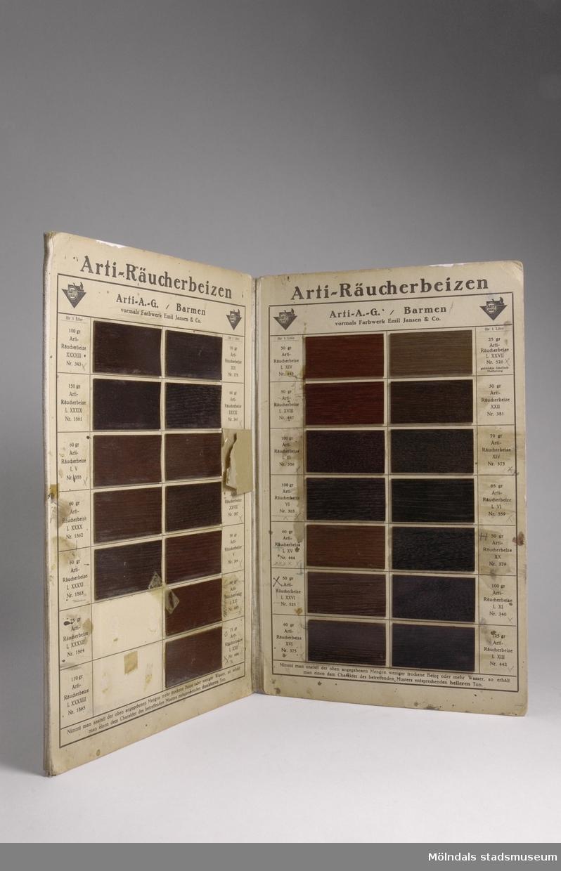 """Provkarta med möbelfärger från tyska Arti A.G./Barmen, Specialfabrik för träbetsor.Redskap och verktyg kommer från Lindströms snickeri (Gamla Riksvägen 81, Ekebacken). Här byggde John Lindström från Lindome ett boningshus och  snickeriverkstad 1928. Han öppnade ett snickeri som specialiserade sig på köksbord. Borden levererades till en grossist i Göteborg. Som mest tillverkades 50-60 bord i veckan. Borden hade ben av björk och resten var av furu. Han gjorde även andra möbler på beställning. Till hjälp hade John ett par anställda. De sista åren renoverade och reparerade de mest, men på tiden """"det begav sig"""" var de specialister på bord av alla de slag, menar han."""
