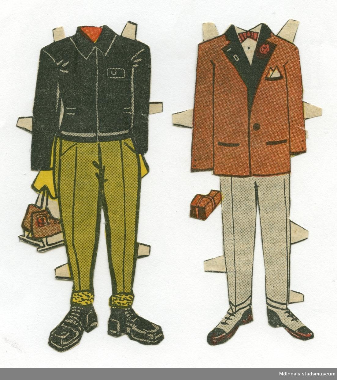 """Kläder till pappersdocka, urklippta ur Hemmets Veckotidning på 1950-talet. Kläderna är märkta """"Ulf"""" på baksidan - dockans namn, vilken dock saknas.Garderoben består av kavaj med byxor, för att gå på kalas, samt jacka med byxor och grova skor, för att ge sig ut och åka skridskor.Kläderna förvaras i ett litet kuvert av smörpapper (MM 04624-2) med tryckt text: """"113 Hedvall"""", samt handskrivet: """"Hemmets Veckotidningen, Pappersdockor"""". I kuvertet förvaras även andra pappersdockor och kläder (MM 04624-04635)."""