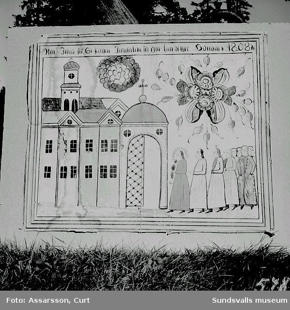 Fornhemmet. Väggmålning med bibliskt  motiv från 1808.