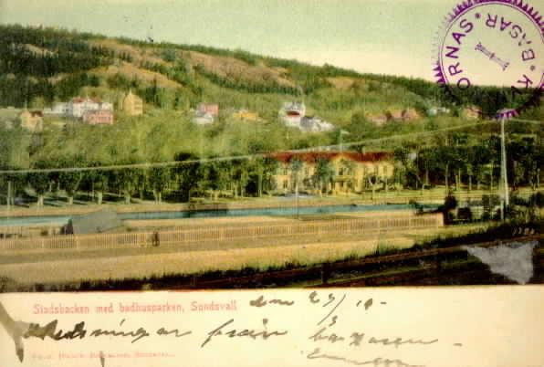 Stadsbacken med badhusparken, Sundsvall, kolorerat brevkort.