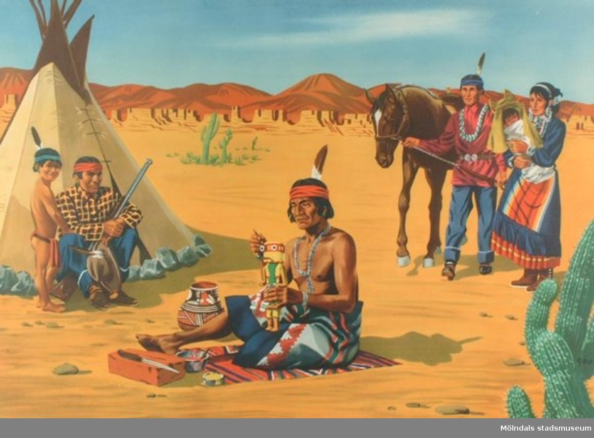 Folklivsbilder.Folktyper: Indianer, plansch 3.Original: I. Gero.Offsettryck: Victor Pettersons bokbinderi A-B, Stockholm.