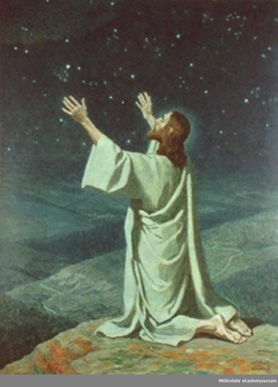 Kristendomskunskap:Jesus ber. Bibeln i bild nr. 35.Konstnär: G. Fugel.