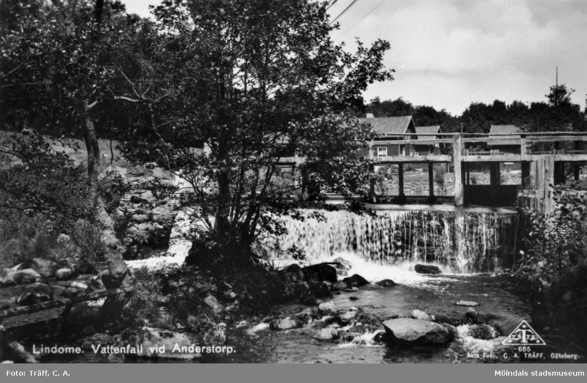 Vattenfall vid Anderstorps fabriker i Lindome. Okänt årtal.