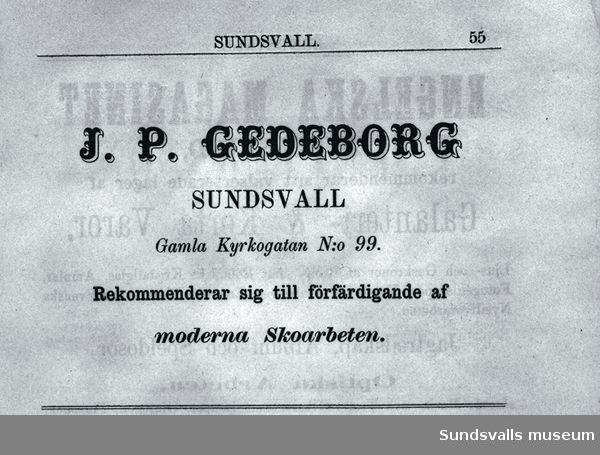 Annons för J P Gedeborgs skomakeri.
