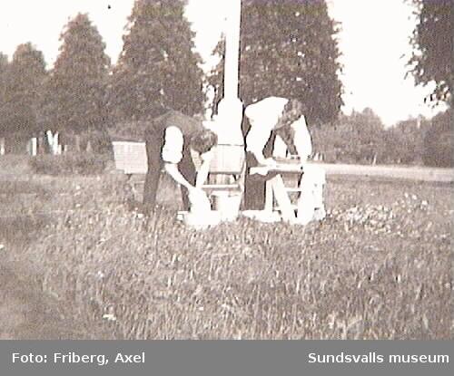 """Text på fotografiets baksida: """"Tunadal juli 1920. Ungkarlslivets skuggsida. Foto: Axel Friberg"""""""