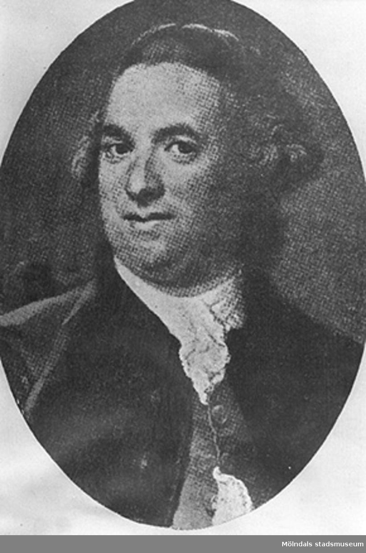 Porträtt på Martin Holterman som startade Holtermanska skolan i Mölndal på 1700-talet.Bilden är en avfotografering av en tryckt bild, därför den dåliga kvaliten.