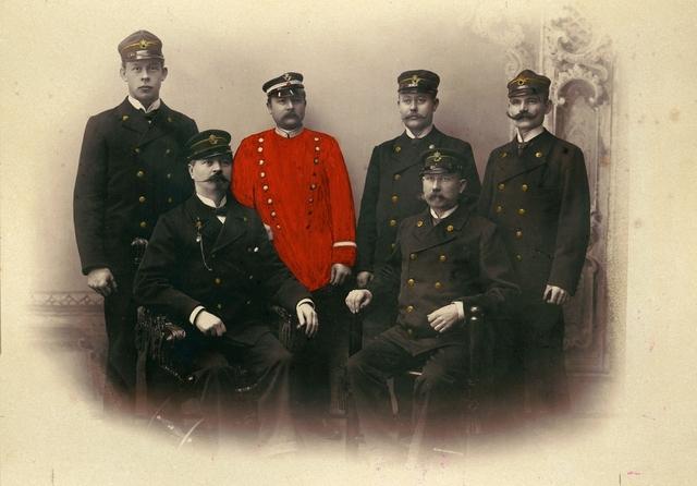 Gruppfotografi, postiljoner i Helsingborg, 1897.