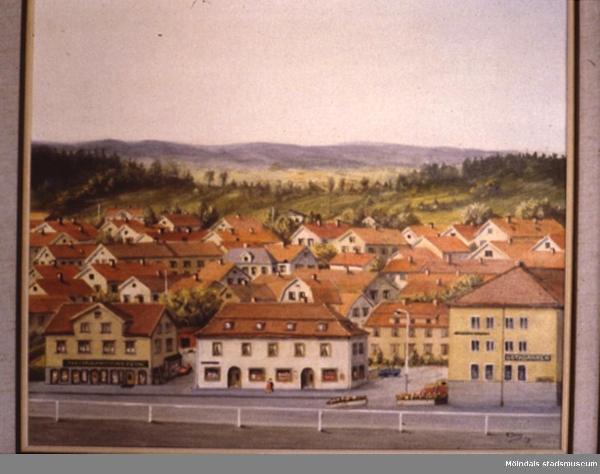 Stadsvy över Mölndal.En tavla målad av den naivistiske mölndalskonstnären Knut Berg.