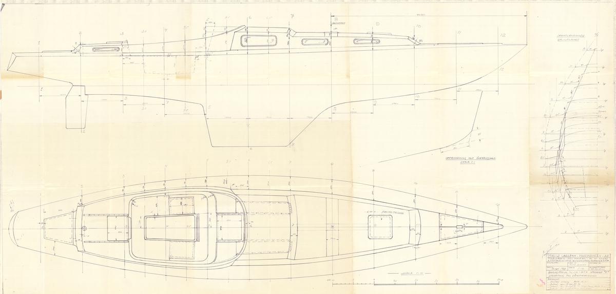 Linjeritning till däcksöverbyggnad i plan och profil med tvärsnitt