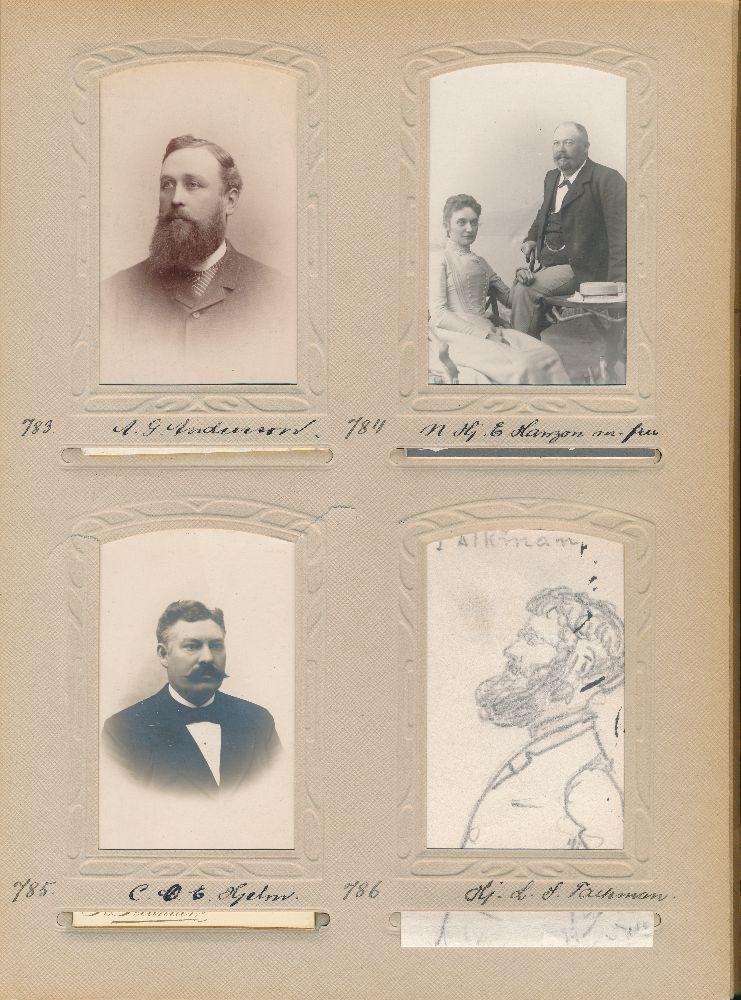 Blyertsteckning föreställande Hjalmar Ludvig Severin Falkman, postexpeditör vid avdelningen för ankommande brev, Stockholm 1 från 1897