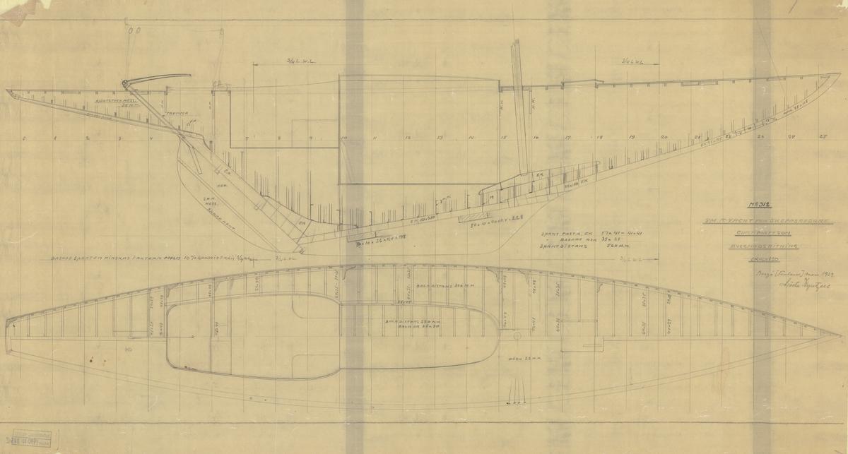 Skiss, Byggnadsritning i plan och profil