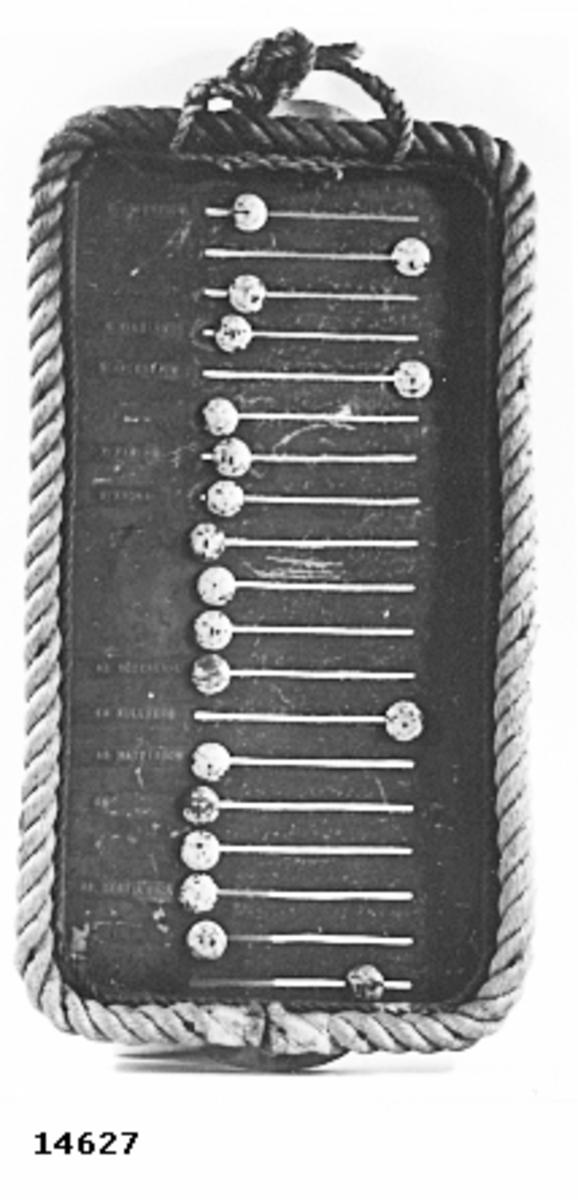 """Permissionstavla. Består av en rektangulär plåt av lättmetall, blåmålad. På plåten en ram av trä, runt denna, tågvirke. Plåten är försedd med 19 st. vågräta, genombrutna spår. I varje spår en gulmålad ankarknopp, fasthållen i spåret medelst en trådklämma i knoppöglan på plåtens baksida. Ovanför översta spåret, röda markeringsremsor märkta med: Till vänster """"ombord"""", tillhöger """"i land"""". Till vänster om spåren markeringsremsor med namn (en del remsor saknas). På baksidan en remsa med följande text: Design by Micha Lindskog Larsson 10th Sept. 1964."""