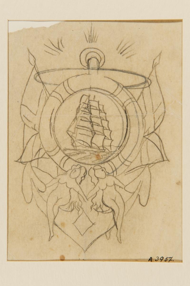 Tatueringsförlaga. Ett segelfartyg inuti en frälsarkrans. På vardera sidan en flagga. I bakgrunden ett ankare på vars armar sitter två nakna kvinnor.