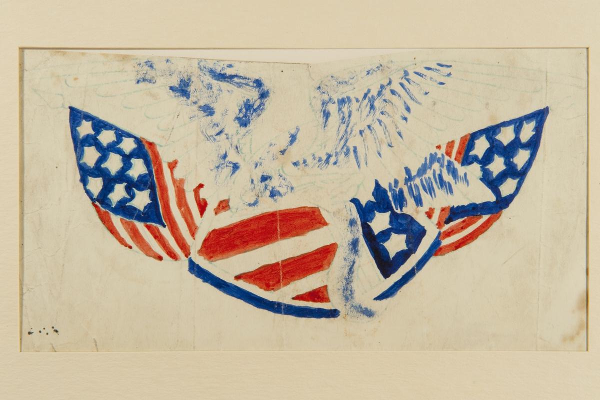 Tatueringsförlaga. En örn framför en amerikansk sköld och två korslagda amerikanska flaggor.