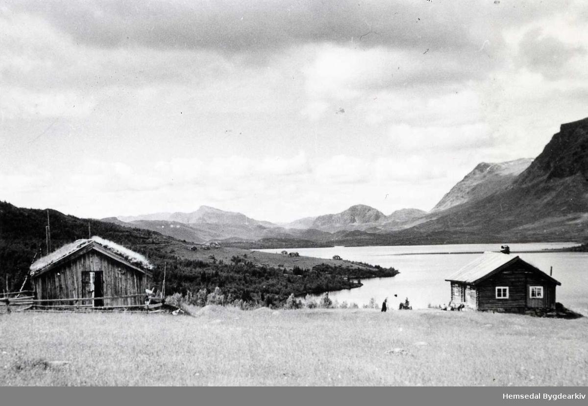 Flatenvollen (Flatavollen, dialekt) på Eikrestølane mot Bergastølen  med Storevatnet i  Hemsedal i bakgrunnen.