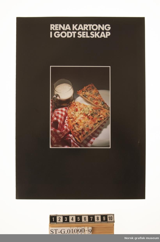"""Brosjyren """"Rena kartong i godt selskap"""" fra Rena Kartonfabrik A/S, om ulike typer emballasje for matvarer og andre dagligvareprodukter."""