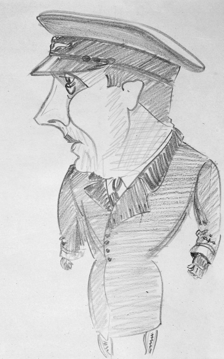 Karikatyrbild av löjtnant Kjellgren ur flygvapnet vid F 3 Malmen.    Avfotograferad teckning.
