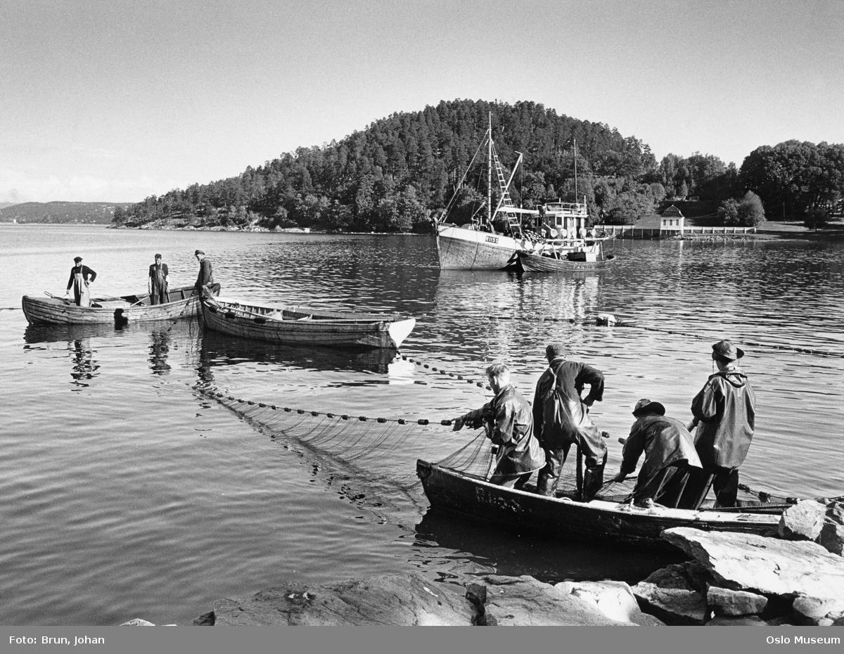 fjord, bukt, robåter, fiskeskøyte, menn, fisking, badestrand, paviljong
