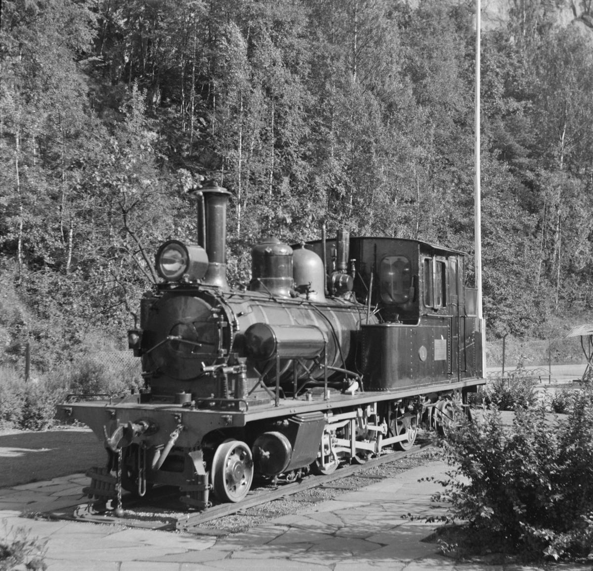 Setesdalsbanens damplok XXI nr. 1 utstilt på Grovane stasjon.