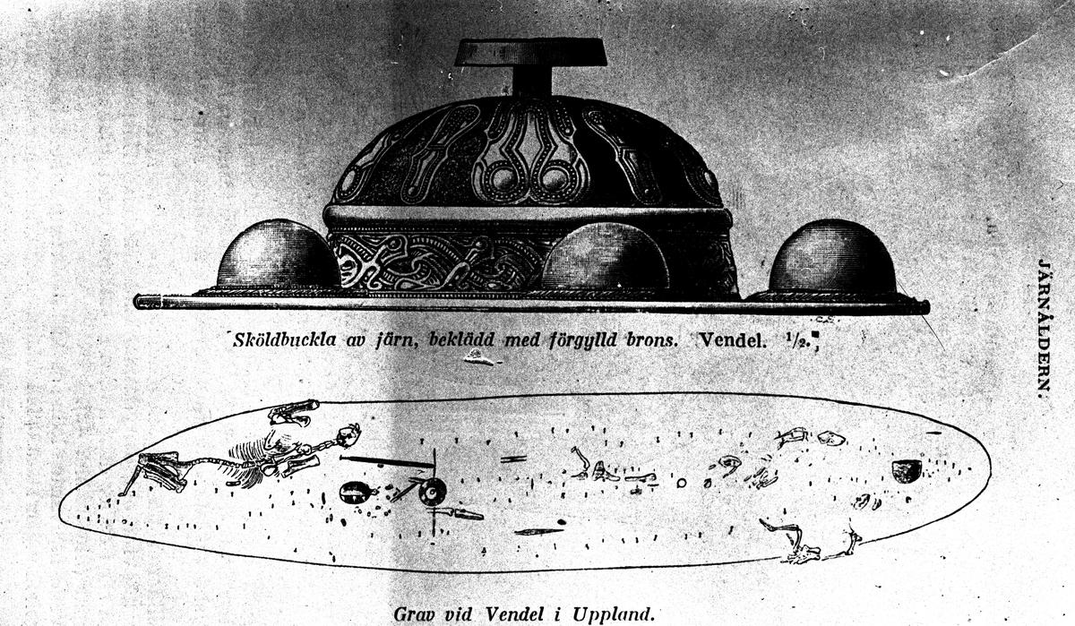 Båtgravarna, Vendel. Reproduktion av KJ Österberg.